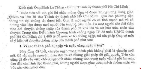 Tâm thư chống ngập 7.000 chữ gửi Bí thư Đinh La Thăng - 1