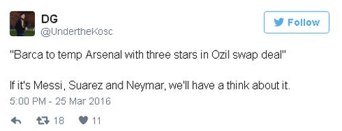 Barca đổi 3 cầu thủ lấy Ozil, fan Arsenal đòi MSN - 2