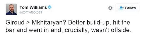 Siêu phẩm bọ cạp của Giroud được thích hơn Mkhitaryan - 2