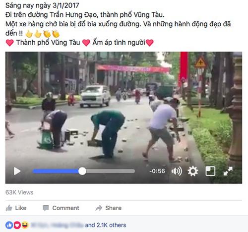 Xôn xao clip người dân Vũng Tàu gom bia giúp tài xế xe tải - 1