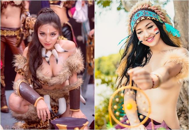 Tạo hình thổ dân của hot girl Lý Nhược Na (ảnh trái) khiến nhiều người nghĩ tới bộ ảnh của thiếu nữ người Việt hồi năm 2015 (ảnh phái).