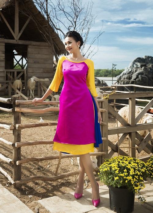 Thanh Hằng diện áo dài khoe sắc thắm bên vườn xuân - 5
