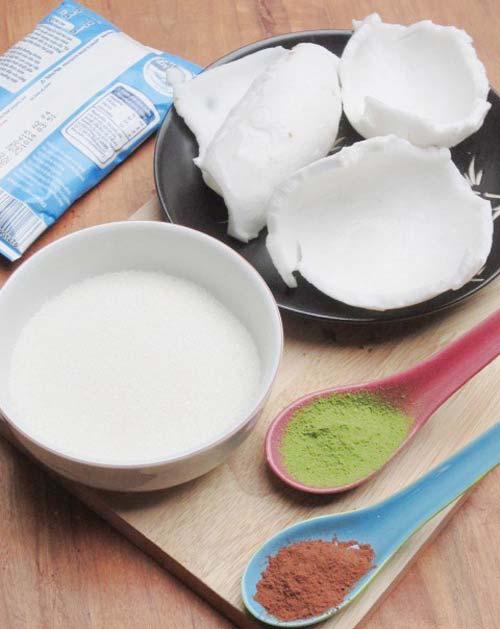 Cách làm mứt dừa non vị sữa, trà xanh, cacao - 1