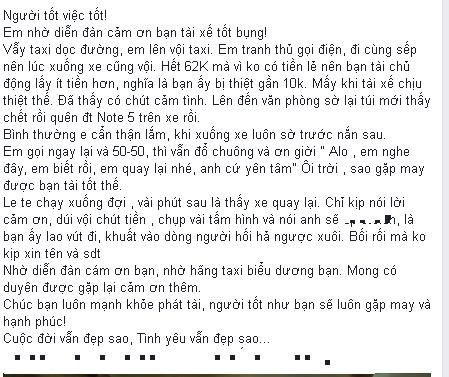 Hành động đẹp của tài xế taxi ở Hà Nội gây sốt mạng - 1