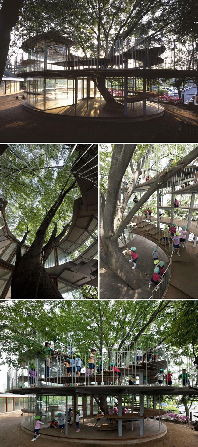 Một trường mẫu giáo gây ấn tượng với sân chơi xây dựng bao quanh một thân cây. Được biết, đây là cây Zelkova 50 tuổi, đã sống sót qua rất nhiều thiên tai. Kiến trúc này vừa tôn trọng thiên nhiên, vừa có bóng mát cho các em nhỏ vui chơi, vô cùng đáng học hỏi.