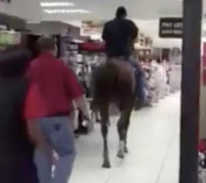 Phi ngựa vào siêu thị, đi lại dọc ngang để mua sắm - 1