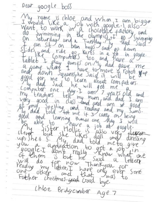 Cô bé 7 tuổi viết thư tay xin việc ở Google và cái kết bất ngờ - 1