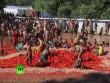 Thả ga ném 100 tấn cà chua trong lễ hội đỏ nhất Chile