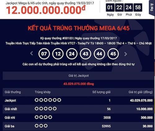 Vietlott công bố thông tin chiếc vé trúng hơn 43 tỉ đồng - 1