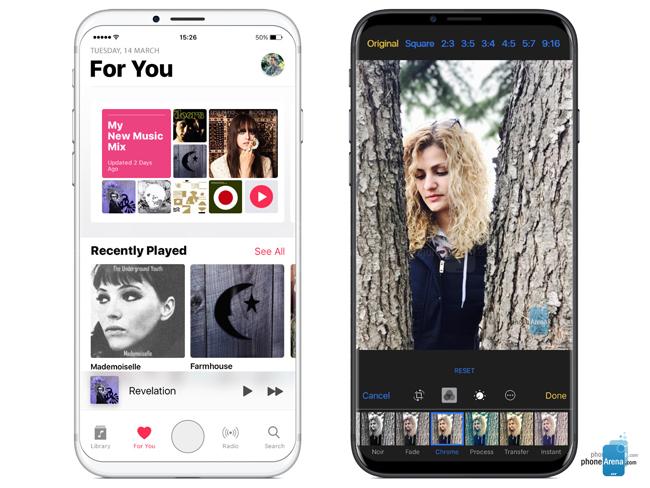 Bản concept iPhone 8 với hai màu đen và trắng. Dĩ nhiên Apple cũng có thể bổ sung thêm nhiều tùy chọn màu khác khi sản phẩm chính thức ra mắt.