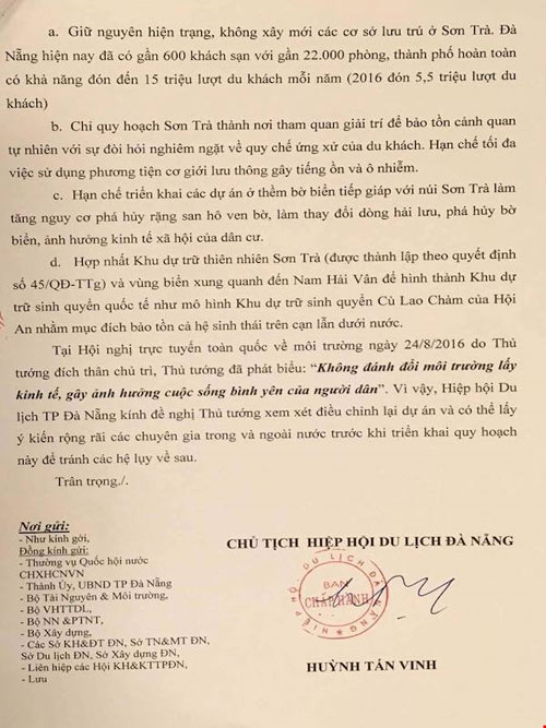 Gửi tâm thư tới Thủ tướng về số phận của Sơn Trà - 1