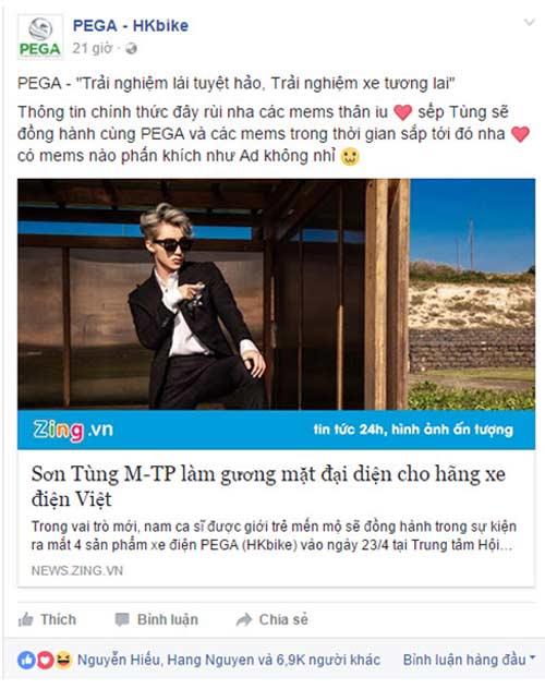 """PEGA (HKbike) """"chiêu mộ"""" Sơn Tùng M-TP làm đại diện hình ảnh - 1"""