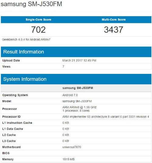 Rò rỉ cấu hình Samsung Galaxy J5 (2017) - 1
