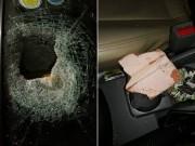 Tin tức trong ngày - Ô tô bị ném đá xuyên kính khi chạy 80km/h trên cao tốc