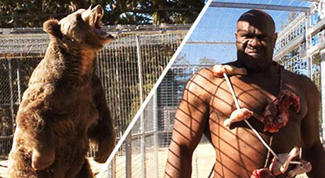"""Chấn động: Võ sỹ 2m - 150kg đấu gấu xám 270kg, suýt """"tiêu đời"""" - 1"""