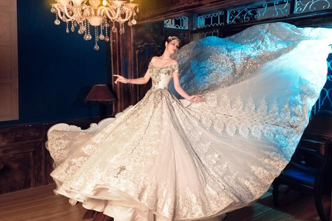 Gái hai con Đan Lê diện váy cưới như nữ hoàng - 8