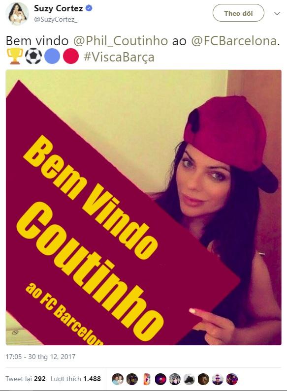 Hoa hậu siêu vòng 3 khỏa thân mời chào tân binh Barcelona đến Brazil - 1