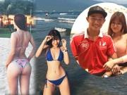 """Ảnh áo tắm  """" nóng bỏng mắt """"  của 2 cô bạn gái cầu thủ Việt Nam"""
