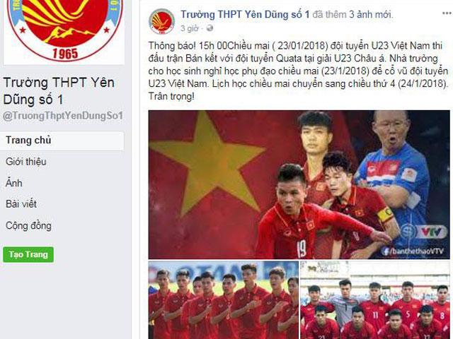 Xôn xao trường THPT cho học sinh nghỉ học để cổ vũ U23 Việt Nam - 2