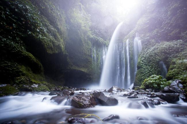 Nước của thác Sendang Gile và Tiu Kelep chảy xuống vách núi cao 45m trên đảo Lombok ở Indonesia.