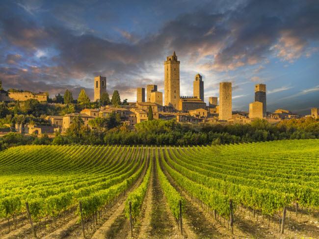 San Gimignano, Italia: San Gimignano được thành lập từ thế kỷ thứ 3 trước công nguyên bởi người Etruscan. Ban đầu, nó chỉ là một ngôi làng nhỏ, trước khi trở thành thị trấn vào thế kỷ thứ 10 sau công nguyên. Điểm đặc trưng của ngôi làng là những ngôi nhà ngôi nhà tháp cổ kính.