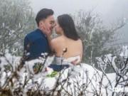 Bạn trẻ - Cuộc sống - Cô dâu lưng trần chụp ảnh cưới dưới trời băng tuyết Sa Pa