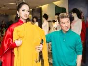 Mr. Đàm hộ tống Hương Giang thử áo dài thi Hoa hậu chuyển giới