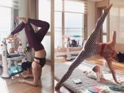 Ngưỡng mộ mẹ bỉm sữa vừa chăm con vừa tập yoga cực điêu luyện