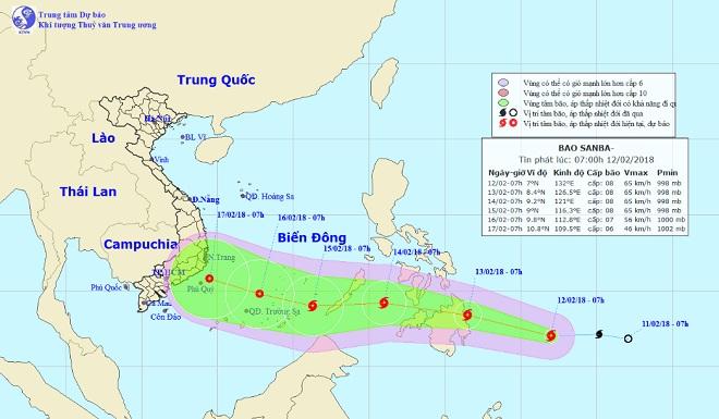 Bão Sanba giật cấp 10, tăng tốc hướng vào Biển Đông - 1