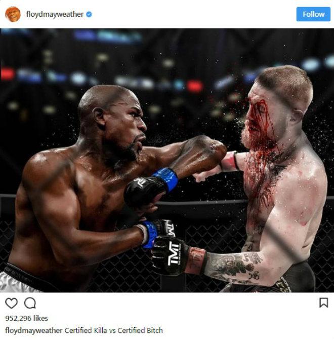 Mayweather đăng ảnh đẫm máu trong lồng UFC: Chửi rủa và dọa nạt McGregor - 1