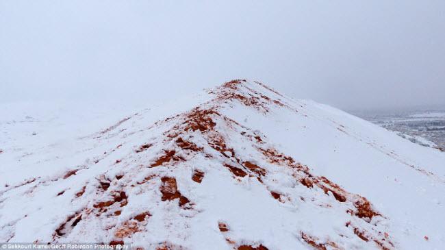 Du khách đổ xô tới sa mạc Sahara ngắm tuyết rơi - 1