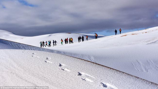 Du khách đổ xô tới sa mạc Sahara ngắm tuyết rơi - 4