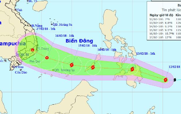 Bão Sanba đang di chuyển nhanh vào Biển Đông - 1