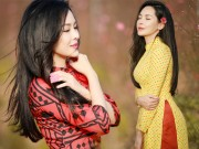 """"""" Hot girl dao kéo """"  Nam Định đẹp lúng liếng với áo dài xuân"""