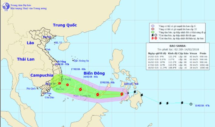 Tối nay, bão Sanba giật cấp 10 đi vào Biển Đông - 1