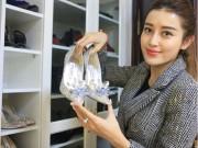 """Hot 30 Tết: Á hậu Huyền My tiết lộ toàn bộ kho giày hiệu  """" khủng """""""
