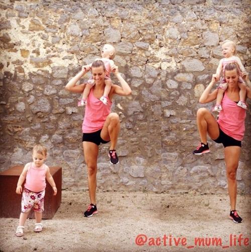 Mẹ 3 con dùng các con thay tạ tập gym và kết quả bất ngờ - 6