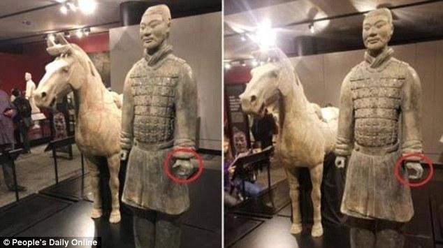 Tượng đất nung 2.000 năm từ mộ Tần Thủy Hoàng bị khách Mỹ vặt tay - 1