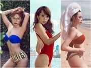 """Nhan sắc 10 phân vẹn 10 của 4  """" Nữ hoàng bikini """"  showbiz Việt"""