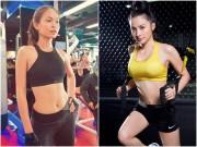 """Mê mẩn với loạt hình mỹ nhân Việt  """" xông đất """"  phòng gym sau Tết"""