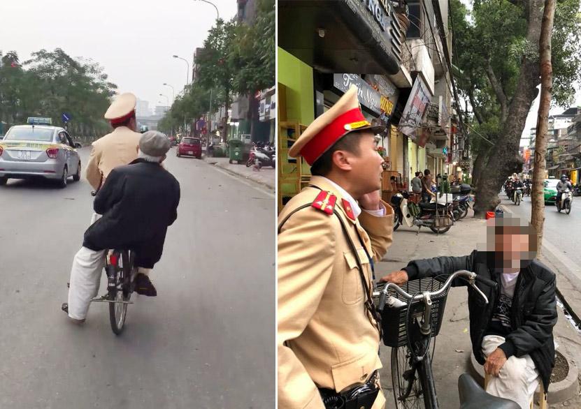 """CSGT đạp xe chở cụ già đi tìm nhà: """"Đó là việc nhỏ, ai gặp cũng sẽ làm"""" - 1"""