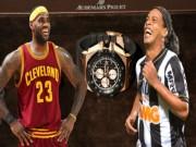"""Đọ chiêu  """" lườm rau gắp thịt """" , Ronaldinho phải nể  """" Vua bóng rổ """""""