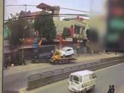Xe cứu hộ tông đuôi xe tải rồi lao vào nhà dân, 3 người nhập viện