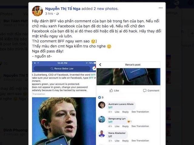 """screen shot 1521620300 427 width640height480 Sự thật về bình luận """"BFF"""" để kiểm tra tính bảo mật tài khoản Facebook"""