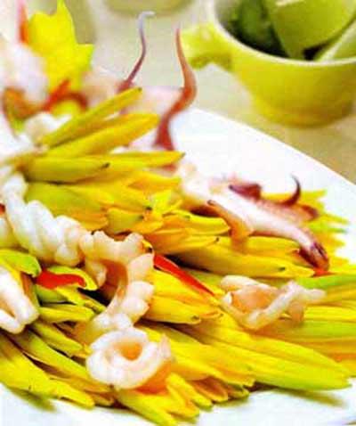 Ẩm thực: Mực xào hoa kim châm, Ẩm thực, ẩm thực, mực ống, món xào, mực, nấm, kim châm, ớt sừng