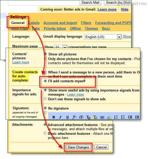 Tắt bỏ tính năng tự động tạo Contact trong Gmail - 2