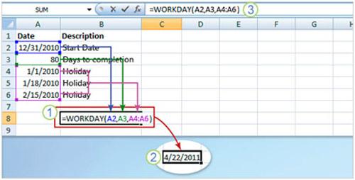 Cách dùng hàm trong Excel 2007 để xác định thông tin ngày - 7