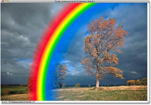 Tạo hiệu ứng cầu vồng sau mưa bằng Photoshop - 8