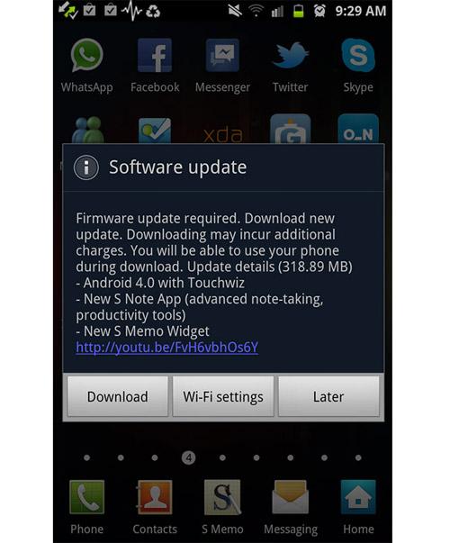 Samsung Galaxy Note nâng lên Android 4.0.3 ICS - 1