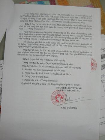 Thu Minh bị phạt khẽ hơn 3 triệu - 2